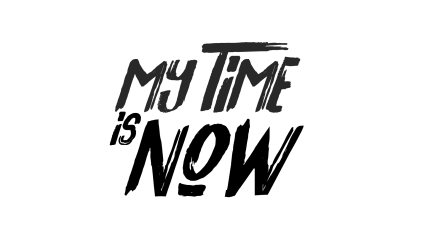 my time is now logo negro sombra